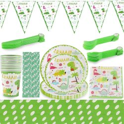 Toptopdeal-fr-zfdg-Fête-Anniversaire-Dinosaure-Set,-111-PCS-Dinosaure-Party-Supplies-Set,-Décoration-Birthday-Party-Vaisselle,-Accessoires-Fête
