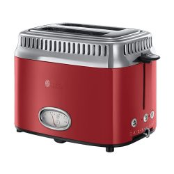 Toptopdeal-fr Russell Hobbs Toaster Grille-Pain, 3 Fonctions, Température Ajustable, Réchauffe Viennoiserie, Design Vintage - Rouge 21680-56 Retro