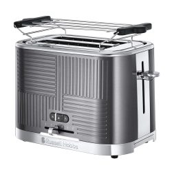 Toptopdeal-fr Russell Hobbs Toaster Grille-Pain, 4 Fonctions, Brunissage Uniforme, Température Ajustable, Réchauffe Viennoiseries, Pince - 25250-56 Geo Steel