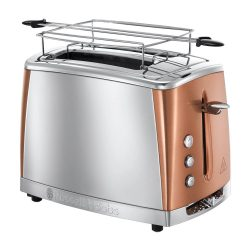 Toptopdeal-fr Russell Hobbs Toaster Grille-Pain, Cuisson Rapide, Contrôle Brunissage, Chauffe Viennoiserie - Cuivre 24290-56 Luna