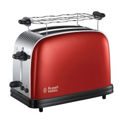 Toptopdeal-fr Russell Hobbs Toaster, Grille Pain Extra Large, Cuisson Rapide et Uniforme, Contrôle Brunissage, Chauffe Vionnoiserie - Rouge 23330-56 Colours Plus