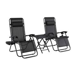 toptopdeal MVPower Set of 2 Folding Chairs with Table, Cup Holder and Head Cushion, Adjustable, Ergonomic, Breathable, Garden Chair ...